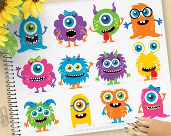 Monster Clipart, baby monster, cute monster, friendly monster, birthday party, invite, Commercial Use, Vector clip art, SVG Cut Files
