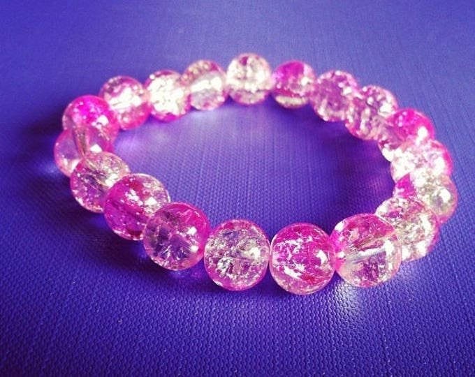 Bracelet large pink and clear cracked beads