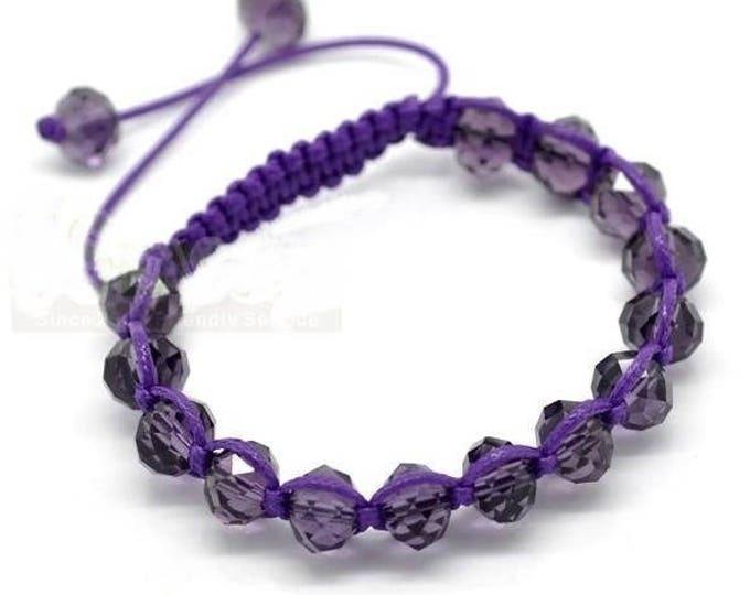 Adjustable Shamballa bracelet purple glass beads
