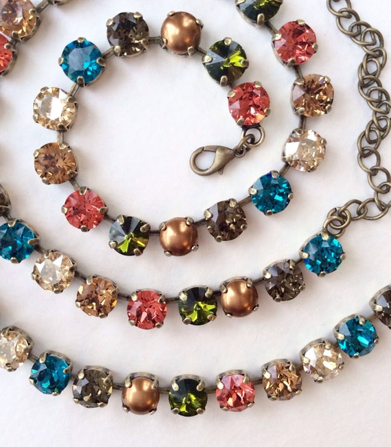 "Swarovski Crystal & Pearl 8.5mm Necklace - "" New England Fall ""  Gorgeous Neutrals With Fiery Accents  Designer Inspired -FREE SHIPPING"