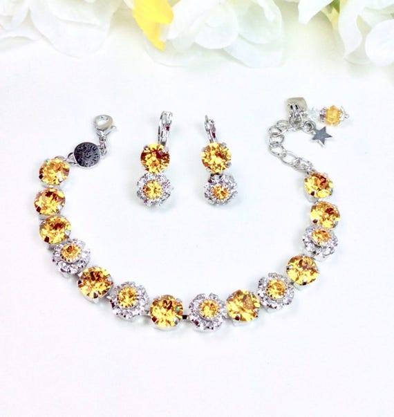 Swarovski Crystal 8.5mm Bracelet With Flowers -Beautiful Sunflower With Swarovski Flowers -Designer Inspired - FREE SHIPPING