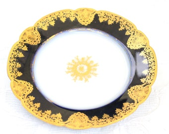 ANTIQUE PLATE, Cobalt Blue and Gold Dessert or Bread and Butter Plate by Martial Redon (MR), Replacement China - ca. 1882 - 1896