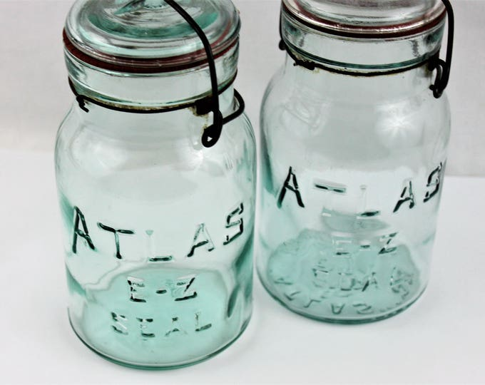 Antique Pair of Blue Atlas E-Z Seal Mason Jars with Glass Lids and wire Bails, Canning Jars