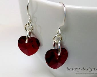 "Swarovski Crystal Red Heart Earrings - ""Rose-red"""