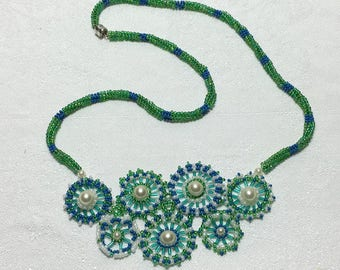 Bead Circle Necklace Bead Flower Necklace Bead Art Necklace Beadwork Necklace Seed Bead Necklace Bead Daisy Necklace Garden Bead Necklace