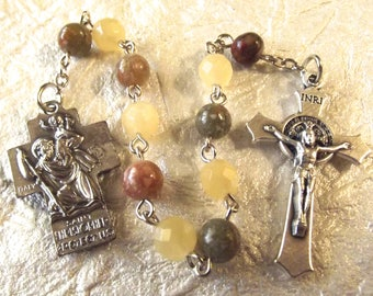 St. Christopher Yellow and Green Prayer Beads