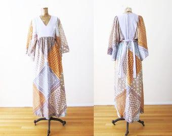 70s Boho Dress - 1970s Maxi Dress - Kimono Maxi Dress - Hippie Dress - Bohemian Dress - 70s Long Floral Dress - Vintage 1970s Maxi Dress S