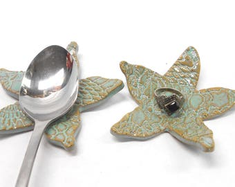 Starfish Ring Dish Teabag Holder Teabag Rest Teaspoon Rest Ceramic Ring Dish Pottery Ring Dish Teabag Holder in Speckled Turquoise