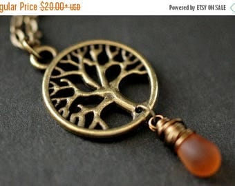 SUMMER SALE Tree of Life Necklace. Bronze Tree Necklace. Wire Wrapped Clouded Amber Teardrop Necklace. Handmade Jewelry.
