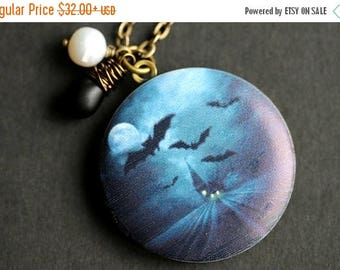 BACK to SCHOOL SALE Halloween Night Locket Necklace. Haunted House Necklace with Black Teardrop and Fresh Water Pearl. Blue Necklace. Handma