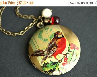 BACK to SCHOOL SALE Robin Locket Necklace. Bird Necklace with Red Teardrop and Fresh Water Pearl Charm. Robin Necklace. Bronze Locket. Handm