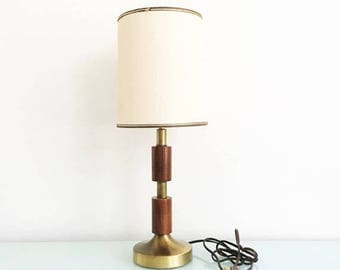 ON SALE Vintage Teak and Brass Accent Table Lamp