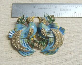 Vintage Coro Duette Birds Rhinestone and Enamel Fur Clip Broach Pin
