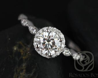 Rosados Box Ready to Ship Samantha 6.5mm 14kt White Gold Round FB Moissanite & Diamond  WITHOUT Milgrain Halo Engagement Ring