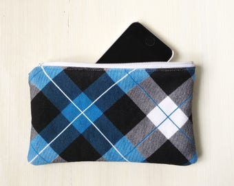 Plaid Pattern Flannel Pouch - Zippered - Phone Case - Blue, Gray, Black - Lined - Glasses Case - Lightly Padded Small Pouch - Guys Gifts