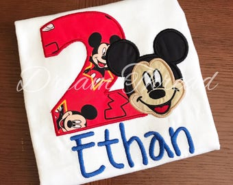 Monogram Mickey, disney, mickey mouse Birthday Shirt, Mickey Mouse clubhouse (made to order)