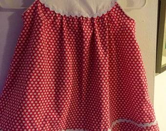 Girls polka dot yoke dress with rick rack