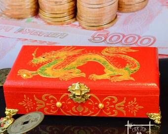 "Handmade Cash Box ""Dragon Feng Fhui"", Chinese character meaning wealth, Feng Shui gifts, Hieroglyph Wealth, Feng Shui Money Box"