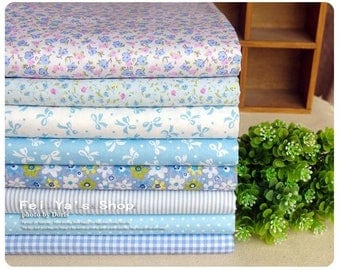 8 pieces Blue Group Series Color Collection Twill Cotton Linen Fabric Cloth Quilt Fabric-DIY Handmade Fabric Cloth