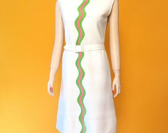 60s Mod midi, solid white dress with green and pink waves, vintage size 10