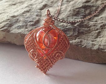 Copper and Fiery Orange Glass Wire Wrapped Pendant