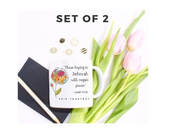 Set of 2 - 2018 Yeartext Colorful Peony Mug