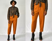 80s Burnt Orange Pants / High Waist Pants / Orange Trousers / Pleated Pants / Orange Pants / Homemade Pants / Tapered Slim Trousers / L