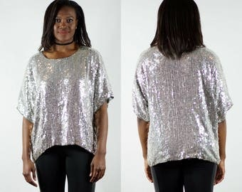 1980s Silver Sequin Top