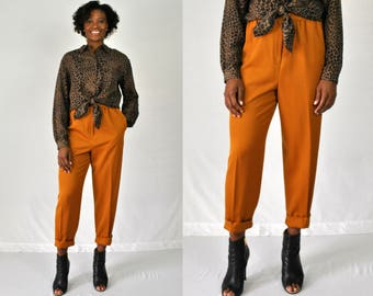 1980s Orange High Waist Pants