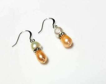 peach white freshwater pearl crystal rondelle earrings hypoallergenic earrings nickel free earrings pearl dangle earrings beaded jewelry