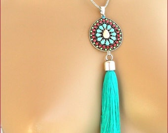 Necklace Turquoise green multicolor bib and tassel on chain