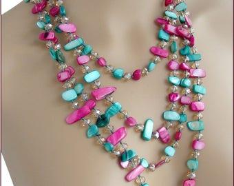 Necklace /Sautoir Rose-Fuchsia/Green-Khaki - Pearl and Crystal