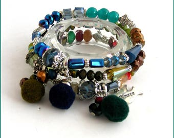 Cuff Bracelet multicolor - Crystal, tassels, glass and Dove/Peace charm