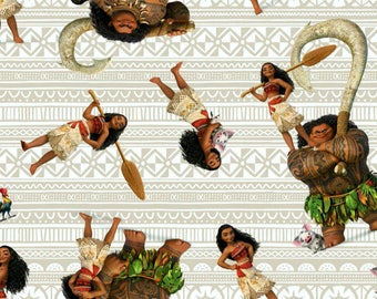 Fat Quarter Disney Moana And Friends 100% Cotton Quilting Fabric Springs