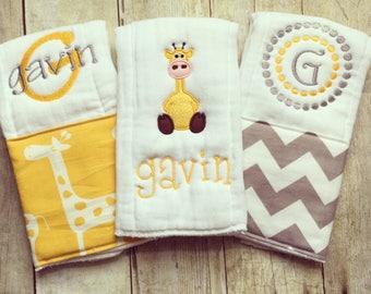 Personalized baby boy burp cloths - safari giraffe, baby gift