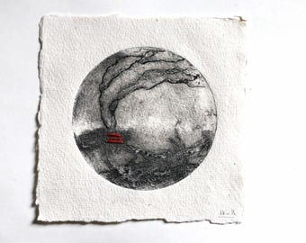 """etching  circle roots -  Gravure """"rond racines"""""""