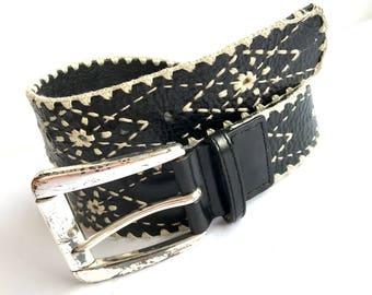 Western Leather Macrame Belt Large Silver Buckle 40', Hippie Black Leather Belt, Western Black Leather Macrame Decorative Belt