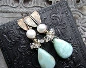 Larimar earrings with pearls and Herkimer diamonds and sterling silver, hammered sterling and semiprecious stone jewelry,  Anvil Artifacts