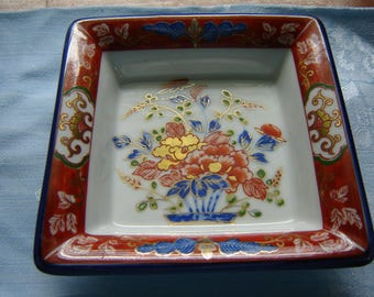 Vintage Asian square dish gold orange and blue decor home decor collectible china