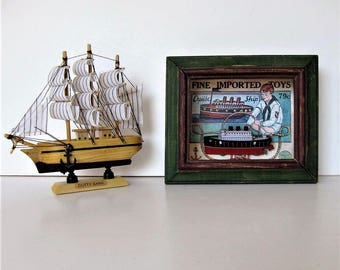 1 Vintage Wood sailboat and cruise ship shadowbox, wall hanging, Model Toy Pirate Ship, Beach Cottage decor, Nautical, boy's room, gift idea