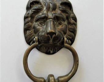 "Large vintage Solid Brass Lion's Head Door Knocker, Home Decor, Front Door, 4"" x 7"", Architectural Salvage Hardware, cat head, gift idea"