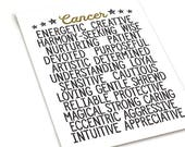 Minimal Style Cancer Zodiac Traits Style • Neutral Color Wall Decor • Unique Birthday Gift