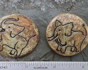 2 Elephant Mosaic Tiles Earth Ceramic Mosaics Elephant Pottery Mosaic Supplies Handmade Ceramic Stone Tiles Focus Pendants
