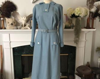 50s Richard Cole Blue Wool Secretary Dress