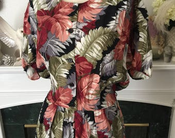 80s Does 40s Rayon Plume Print Day Dress
