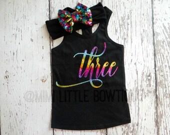 Third Birthday Tank top outfit- Rainbow 3 birthday girl-  Third Birthday girl Outfit- Baby Girl Clothing- Rainbow second birthday shirt