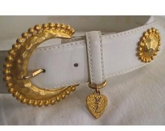 YVES SAINT  LAURENT white leather belt gold buckle