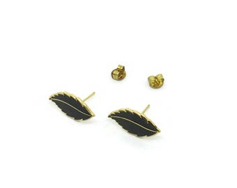 Leaf Shaped Cloisonné Earrings | Unused | Brown And Gold Leaf Earrings | Enamel Earrings | New Old Stock Vintage Earrings