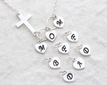 Sterling Silver Infinity necklace. Sterling Silver Sideways Cross necklace, Personalized Necklace choose Three initials. Mom, Dad, BFF Gift