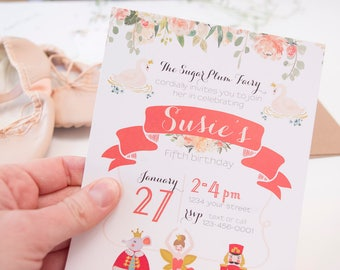 Nutcracker Birthday Party Invitation. Nutcracker Party Invitation. Nutcracker Birthday. Ballerina Birthday Party Invite. Ballerina Birthday.